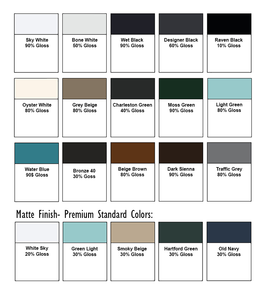 Master Aluminum - Standard Color Options
